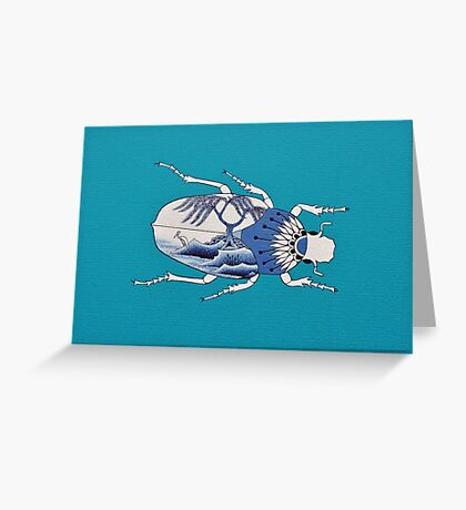 Segment from ' Blue Willow Beetles' Greeting Card