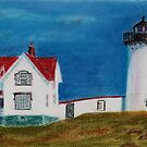 Nubble Lighthouse by Hilary Robinson