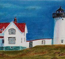 Nubble Lighthouse by Hilary Robinson