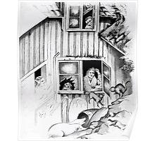 Theodor Kittelsen Avbrytelse av kattemusikk Interruption of cat music Poster