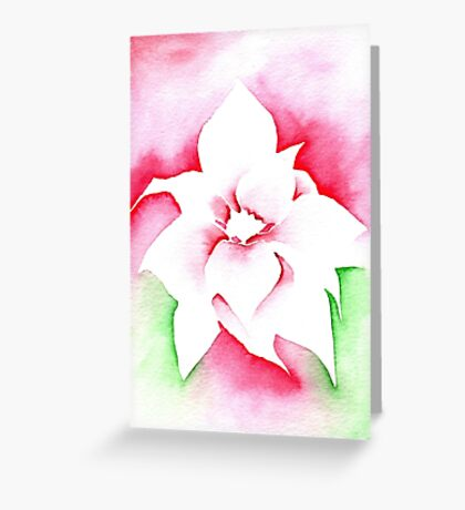Red Poinsettia Christmas design - Aquamarkers. Greeting Card