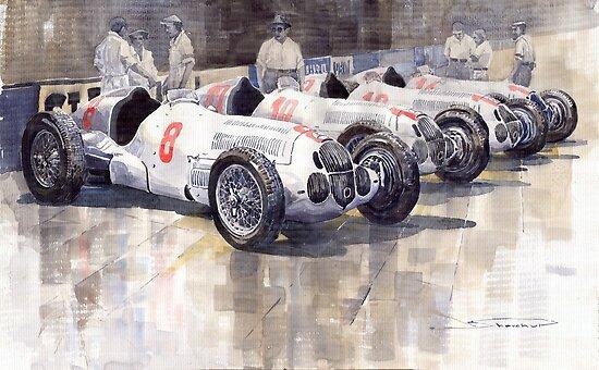 1937 Monaco GP Team Mercedes Benz W125 by Yuriy Shevchuk