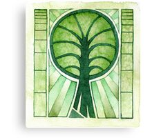 Green Tree Symbol - watercolours Canvas Print