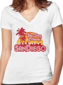 You Stay Classy! San Diego Women's Fitted V-Neck T-Shirt