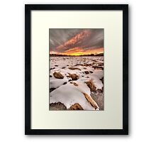 Snow, Straw and Sunset Framed Print