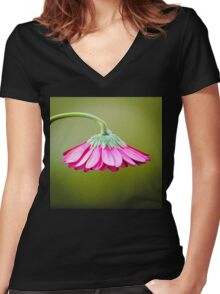 Pink/Green Flower Umbrella© (S120915pgfu) Women's Fitted V-Neck T-Shirt
