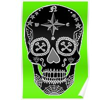 Logistic Specialist - Day of the Dead Skull Black and White Negative Poster