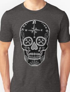 Logistic Specialist - Day of the Dead Skull Black and White Negative Unisex T-Shirt