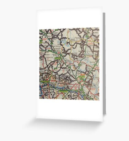 Manipulated Map  Greeting Card