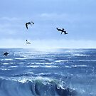 """Pelicanos de Melaque"" - oil painting of pelicans by James  Knowles"