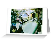 """""""Vintage Reflections"""" - oil painting of a vintage car Greeting Card"""