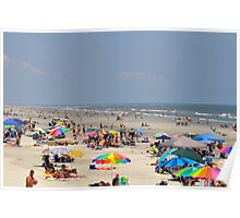 Beach Crowd at Sunset Beach, NC Poster