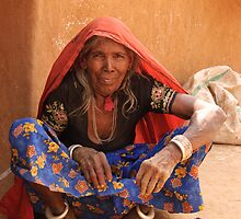 Old Indian Lady, village smallholding, Rajasthan by Christopher Cullen