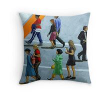 The Exception - figurative city oil painting Throw Pillow