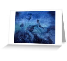 """""""Running with Salmon"""" - oil painting of fish swimming in a river Greeting Card"""
