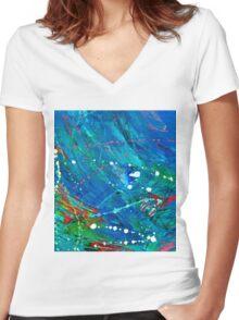 Splash of Blue Women's Fitted V-Neck T-Shirt