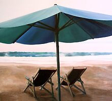 """Sit for a While"" - oil painting of deck chairs on a Mexican beach by James  Knowles"