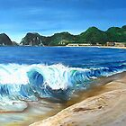 """Playa Melaque"" - oil painting of a Mexican beach by James  Knowles"