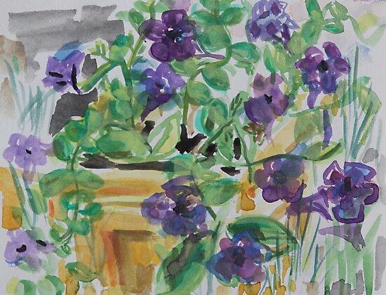 Purple Flowers in the Garden by Juliane Porter