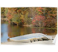 beached canoes Poster