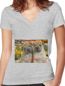 Brothers Forever  Women's Fitted V-Neck T-Shirt