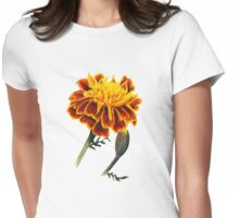 French Marigolds watercolor painting Womens Fitted T-Shirt
