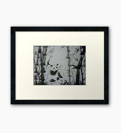 Panda snack time Framed Print