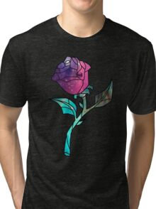Stained Glass Rose Galaxy Tri-blend T-Shirt