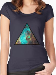 Green Galaxy Triangle Women's Fitted Scoop T-Shirt