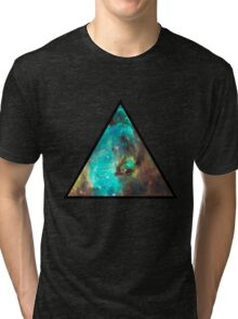 Green Galaxy Triangle Tri-blend T-Shirt