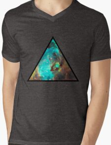 Green Galaxy Triangle Mens V-Neck T-Shirt