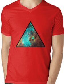 Green Galaxy Triangle Mens V-Neck T-Shirt