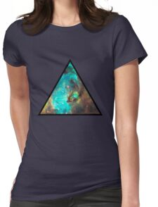 Green Galaxy Triangle Womens Fitted T-Shirt