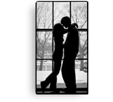Kiss At The Train Station Window Canvas Print
