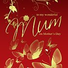 Mum Mother's Day Card Red And Gold Effect by Moonlake