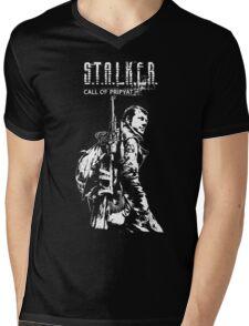 Stalker COP White Mens V-Neck T-Shirt