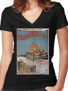 Gustave Fraipont Affiche Ouest Mont St Michel Women's Fitted V-Neck T-Shirt
