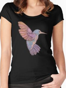 hummingbird doodle mandala boho pastel cute tattoo animal Women's Fitted Scoop T-Shirt