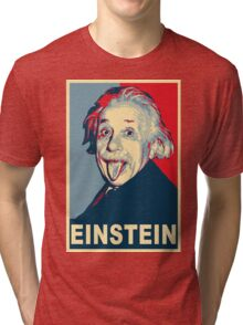 Albert Einstein Portrait pulling tongue Campaign Design  Tri-blend T-Shirt