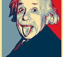 Albert Einstein Portrait pulling tongue Campaign Design  by yin888