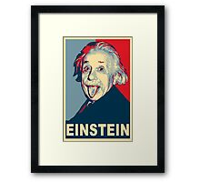 Albert Einstein Portrait pulling tongue Campaign Design  Framed Print