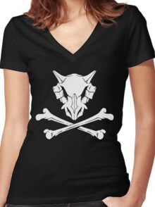 Cubone Skull Women's Fitted V-Neck T-Shirt