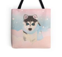 Husky Puppy in Snow Tote Bag