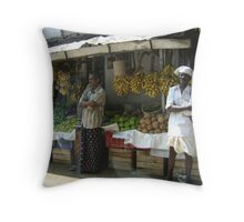 Waiting for bus home Throw Pillow