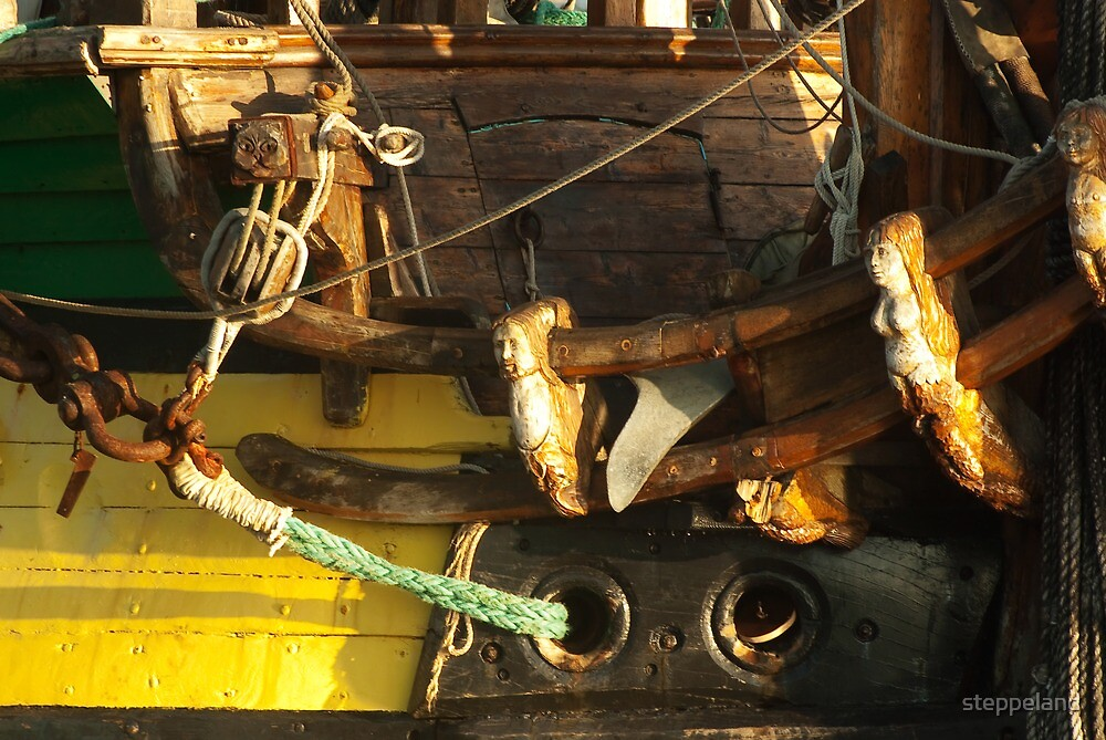 "Wooden sculptures on the bow of ""frigate Shtandart"" by steppeland"