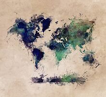 World map blue splash by JBJart