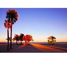 Miami South Beach sunset with lifeguard tower, Florida, USA Photographic Print