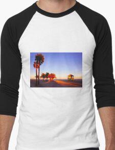 Miami South Beach sunset with lifeguard tower, Florida, USA Men's Baseball ¾ T-Shirt
