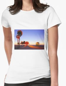 Miami South Beach sunset with lifeguard tower, Florida, USA Womens Fitted T-Shirt