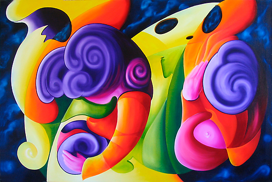 """Bailando en el Espacio"" colourful abstract oil painting by James  Knowles"